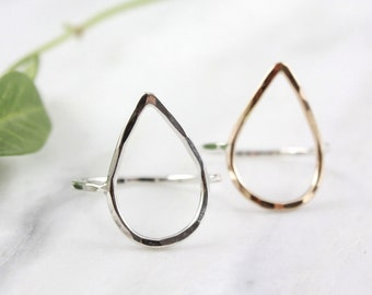 Silver and Gold Teardrop Ring