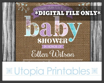 Rustic Burlap Baby Shower Invitation Teal Purple Country Theme Flowers Floral Party Digital Printable Customized 5x7 Aqua Blue Brown
