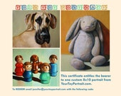 """Gift Certificate for 8""""x10"""" Custom Toy or Pet Portrait"""