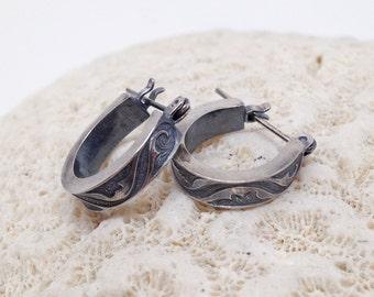 Floral Earrings, Small Hoop Earrings, Sterling Silver Earrings, Textured and Patina'd Boho Chic Hoops, Minimalist Earrings, Tiny Hoops