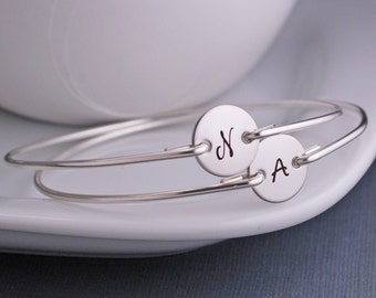 Mom Bracelets, Children's Initials, FOUR, Mother's Jewelry, Personalized Mom Gift, Mother's Bracelets, Sterling Silver Initial Bangle Custom