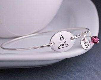 Buddha Bangle Bracelet, Personalized Yoga Jewelry, Om Charm, Meditating Buddha Jewelry