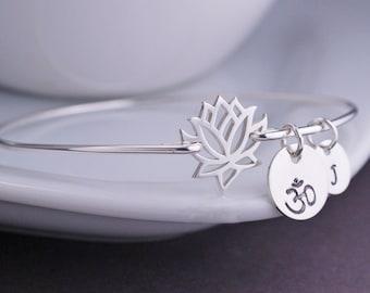Lotus Flower Jewelry, Personalized Sterling Silver Bangle Bracelet, Lotus Bracelet, Yoga Bracelet, Silver Bangle