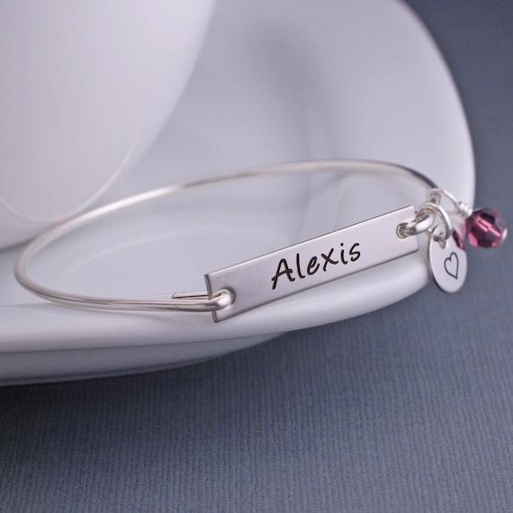 Personalized Bracelet, Personalized Silver Name Jewelry, Child's Name Bracelet, Custom Engraved Bangle