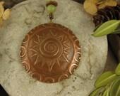 Celtic Spiral Sun Pendant Copper, One Sun, Sun Necklace, Sun Jewelry, Irish Celtic Jewelry