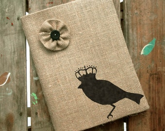 Bird with Crown -  Burlap Feed Sack Journal Cover w. Notebook
