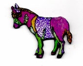 DONKEY POP ART brooch pin very cool and colorful