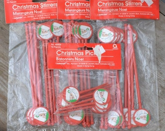 Christmas Stirrers and Picks- Stir Sticks - 40 - Royal Hill Vintage