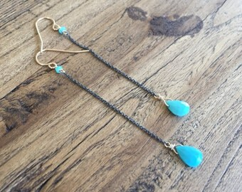 Turquoise earrings, oxidized silver and gold dangle earrings.