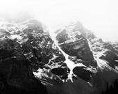 "Mountain Photography, Canada Art, Black and White Photography, Large Wall Art, Moraine Lake, Banff, Black and White Art ""Alpine Fog"""