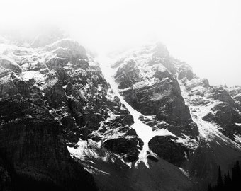 "Mountain Photography, Canada Art, Black and White Photography, Large Wall Art, Moraine Lake, Banff, Black and White Art ""Alpine Fog"""