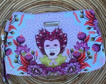 Zipper Pouch-wristlet-small Purse -small Clutch-handbag-purple aqua blue