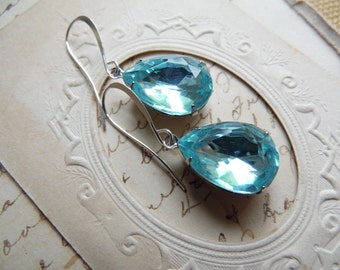 aqua earrings, Turquoise earrings, blue topaz earrings, blue crystal earrings, aquamarine earrings, Downton Abbey jewelry.