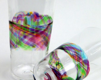 Hand Blown Art Glass  Rainbow Band Pint Glasses, Tumblers Barware Wedding Registry Gifts