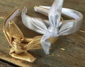 Metallic SILVER or GOLD Knot Tie Headband Hair Band Head Wrap Fashion Headband