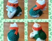 Teenage Feline Ninja Turtle - Crocheted Yarnbombed Ceramic Figure