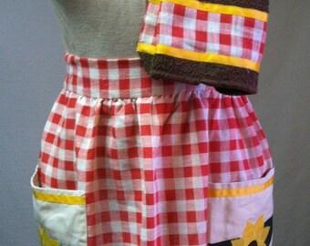 Sunflower appliqué apron and matching kitchen towels