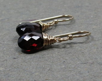 Garnet Earrings Gold January Birthstone Gift for Her Gift for Mom Minimalist Earrings