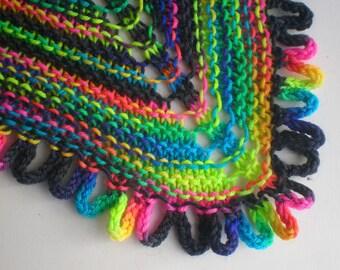 PATTERN Loop Edged Shawl Shawlette knit from fingering sock or handspun yarn