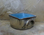RESERVED - Casserole Baking Dish - Handmade Stoneware Ceramic Pottery - Burnt Iron Brown and Icy Blue - 1-3/4 quart