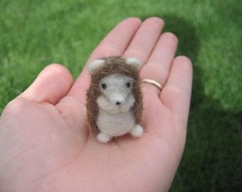Needle Felted Miniature Hedgehog Tiny Animal