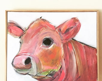 ON SALE pink and orange cow painting