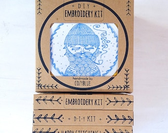 SEA CAPTAIN embroidery kit - gift kit, sea captain, embroidery pattern, DIY gift for crafters, hand embroidery kit by cozyblue