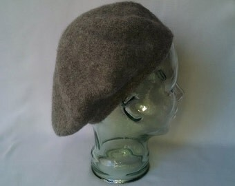 Wool felted tam, grey felted wool Scottish bonnet