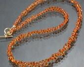 Natural Padparadscha Orange Sapphire Tear Drop Briolettes & 14K Gold Necklace