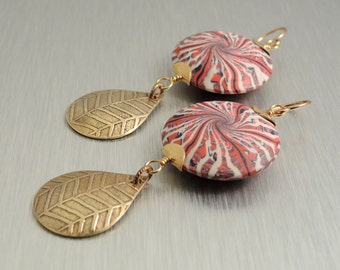 Brass and Polymer Clay Earrings - Etched Brass Earrings - Statement Earrings