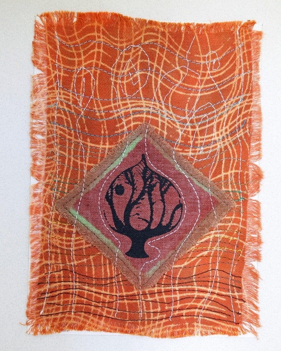 Original fiber art stitched, dyed, printed collage, tree and moon landscape art, screenprinted, hand dyed, rust orange, swirling sky