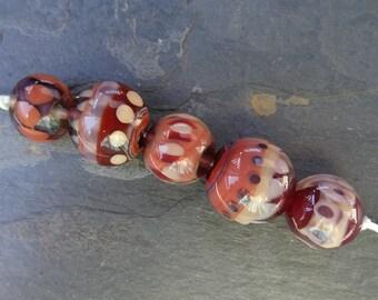 Cherrywood Chubby Lentils - SRA handmade glass lampwork beads Lori&Kim