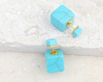 Turquoise Gemstone Reversible Cube Earrings