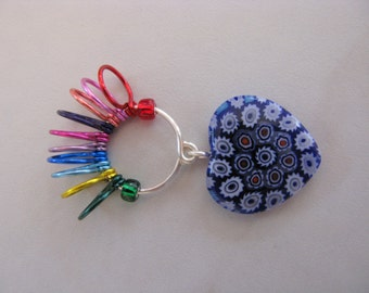Millefiori Heart 10 Row Counter Stitch Marker - Select Bead Color - Size US 10 - Item No. 990
