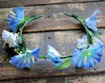 Morning Glory Faerie Flower Crown - Wreath - Tiara - Headband - Wedding - Bridal - Costume - Cosplay