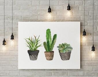 Cacti art print   Watercolor cactus   Hand painted watercolor cactus house plants potted plants watercolor cacti  decor Printable art cactus