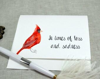 Watercolor Cardinal Printed Sympathy Card with envelope
