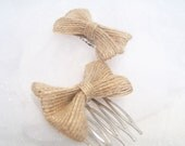 Rustic Hair Bow or Clip - Bridal, Flower Girl or Country Accessory, Set of two