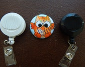 Orange Owl Fabric Covered Button for Clip on Retractable Badge Reel