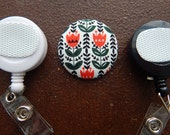 Fabric Covered Button for Clip on Retractable Badge Reel - Tulip Flowers