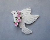 Dove Tree Ornament with Cold Porcelain Floral Garland