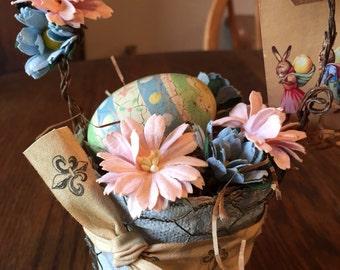 Primitive peat pot easter basket