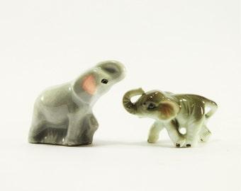 Vintage Mama and Baby Grey Elephant Porcelain Miniature Figurines, Bone China mini Elephants, Pachyderm figurines, Tiny animals