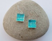 Earrings Iridescent Square Textile and Glass
