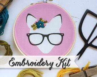 Pink Nerdy Fox embroidery kit