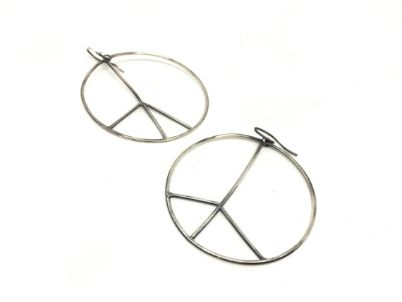 Hoop earrings peace sign earrings silver peace sign earrings big hoop earrings peace sign hoops silver hoops