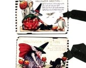 Halloween Witches , Witch Tags , Vintage Halloween , Orange Pumpkins , Black Cats , Bat , Rat , Owl , Party Supply , Halloween Greeting