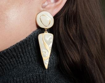 swirl triangle drop earrings / geometric earrings / painted earrings / 1023a