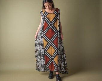 tribal print woven maxi dress / print maxi dress / vintage ethnic oversized dress / s / m / l / 1858d