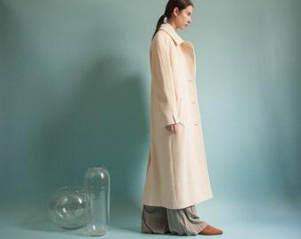 cream white asymmetric wool coat / winter car coat / vtg heavy winter coat / m / 874o / R3
